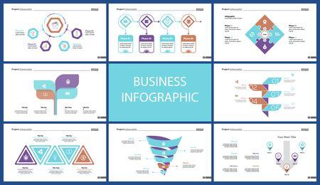 Set of sales or production concept infographic charts. Business design elements for presentation slide templates. For workflow report, advertising, banner, and brochure design. Standard-Bild - 128516221