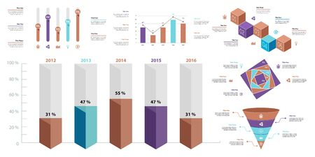 Business infographic diagram slide templates set can be used for workflow layout, annual report, web design. Marketing concept. Donut, arrow, timeline, process charts, bar graph, cycle, area diagram Standard-Bild - 128516230