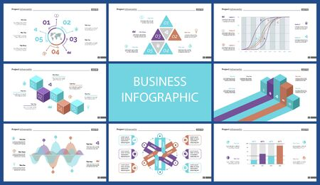 Business presentation page design set can be used for annual report, web design, workflow layout. Analysis concept. Process cart, flowchart, donut, pie graphs, organizational chart, bar graph Standard-Bild - 128516231