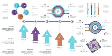 Business presentation slide template design set can be used for workflow layout, annual report, web design. Management concept. Line chart, bar graph, option chart, process chart, flowchart Standard-Bild - 128516232