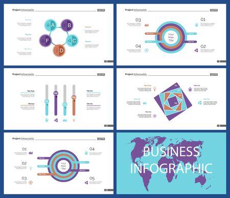 Business presentation slide template design set can be used for workflow layout, annual report, web design. Management concept. Line chart, bar graph, option chart, process chart, flowchart Standard-Bild - 128516238