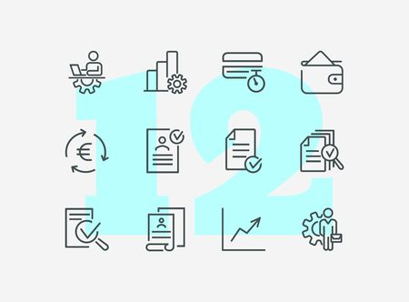 Employee file line icon set. Profile, personal data, CV, graph. Human resource concept. Can be used for topics like office work, career, personnel management
