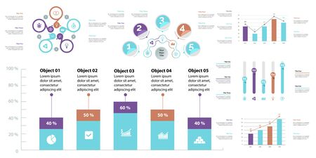 Creative business infographic design for analysis concept. Can be used for workflow layout, annual report, web design. Option chart, process chart, organizational graph, flowchart, pie chart Standard-Bild - 128516273