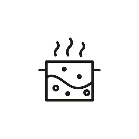 Boiling water line icon. Saucepan, soup, bubble. Cooking concept. Can be used for topics like physics, food, kitchen Illusztráció