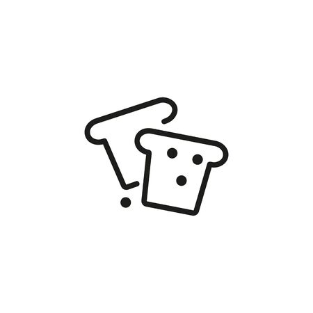 Bread slices line icon. Sandwich, breakfast, snack. Food concept. Can be used for topics like nutrition, carbohydrates, gluten  イラスト・ベクター素材