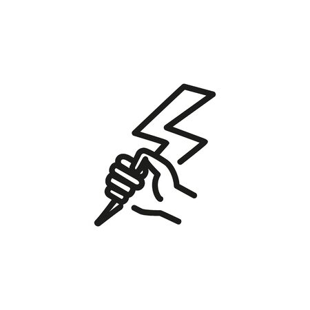 Business power line icon. Hand, lightning bolt, effort. Renewable energy concept. Can be used for topics like alternative idea, force, weather Ilustração