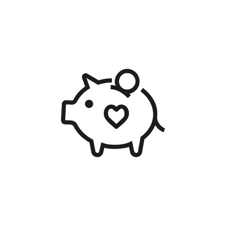 Charity fundraising line icon. Moneybox, pig, savings. Piggybank concept. Can be used for topics like economy, savings, budget