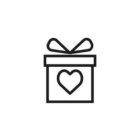 Charity gift line icon. Present, box, anniversary. Valentines day concept. Can be used for topics like donation, love, holiday