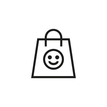 Charity help line icon. Smiling face, paper bag, gift. Contribution concept. Can be used for topics like sale, shopping, present  イラスト・ベクター素材