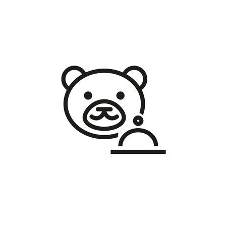 Children menu line icon. Bear, cloche, meal. Food concept. Can be used for topics like toy, cafe, restaurant