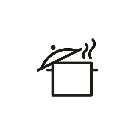 Cooking pan line icon. Soup, stew, dinner. Food concept. Can be used for topics like household, recipe, kitchen