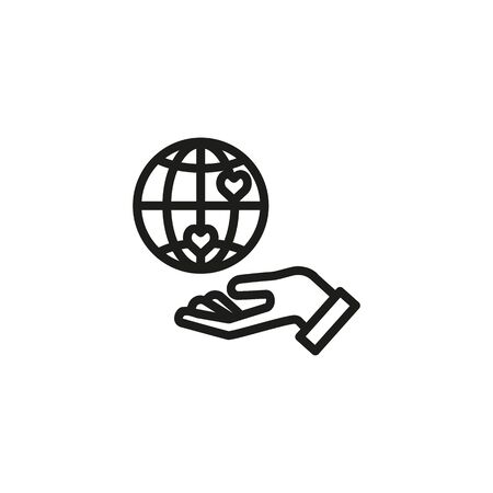 Global charity line icon. Hand, Earth, heart. Kindness concept. Can be used for topics like donation, volunteering, healthcare