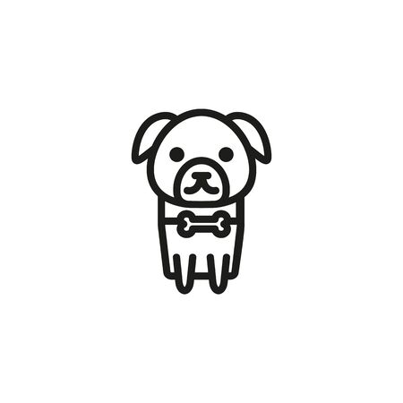 Pet dog line icon. Bone collar, tag, puppy. Walk with dog concept. Can be used for topics like friend of man, obedience, canine