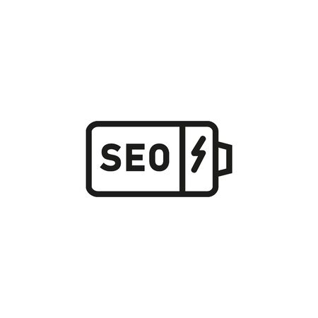 Power of SEO line icon. Battery, charge, promotion. Marketing concept. Can be used for topics like strategy, management, optimization Çizim
