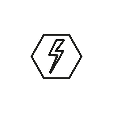 Power symbol line icon. Lightning, hexagon, electricity, electronics. Energy concept. Can be used for topics like warning, industry, danger