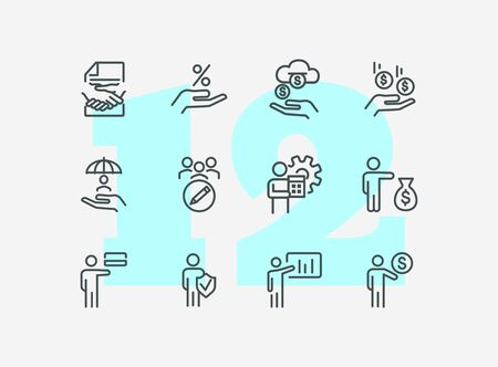 Finance management line icon set. Dealing, income, percentage. Business concept. Can be used for topics like banking, investment, profit  イラスト・ベクター素材
