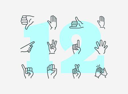 Conjunto de iconos de línea de gestos. Mano, disgusto, señalando con el dedo, dedos cruzados. Concepto de lenguaje corporal. Puede usarse para temas como aprobación, señales, gesticular