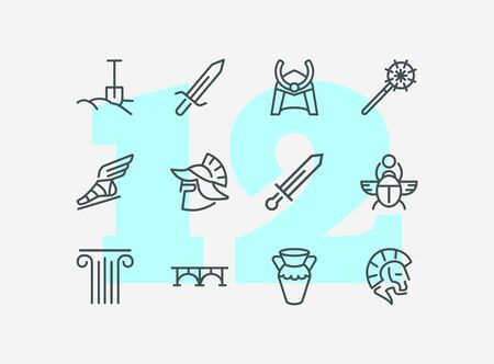 Ancient culture line icon set. Sword, spade, armor. History concept. Can be used for topics like war, medieval, myth Ilustração