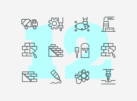 Construction work line icon set. Building brick, paint for wall, concrete mixer machine. Construction concept. Can be used for topics like real estate development, housebuilding, site