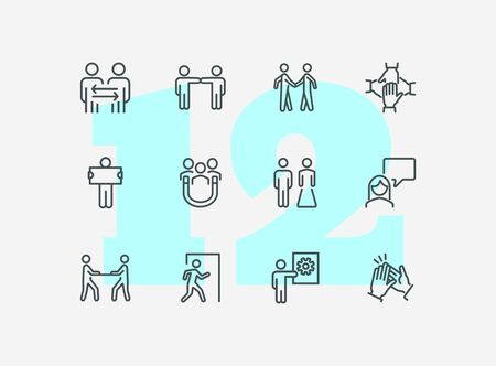 Cooperation line icon set. People, team, partner, family. People connection concept. Can be used for topics like relationship, communication, teamwork