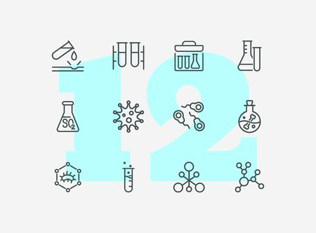 Chemical reaction line icon set. Set of line icons on white background. Molecule, structure, atom, flask. Science concept. Vector illustration can be used for topics like experiment, laboratory  イラスト・ベクター素材