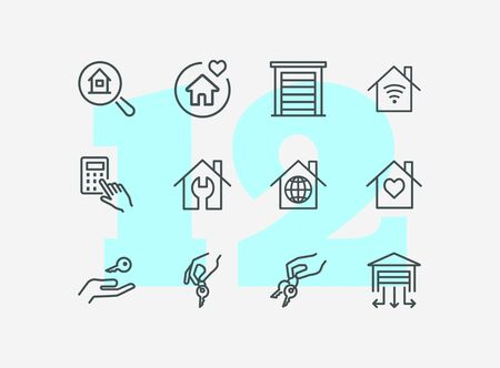House buying line icon set. Set of line icons on white background. Building, house, home, key. Mortgage concept. Vector illustration can be used for topics like social, real estate  イラスト・ベクター素材