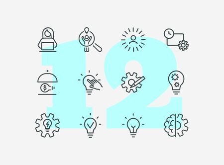 Idea for startup line icon set. Shining bulb, lightbulb, gear, entrepreneur. Business concept. Can be used for topics like genius, innovation, new project  イラスト・ベクター素材