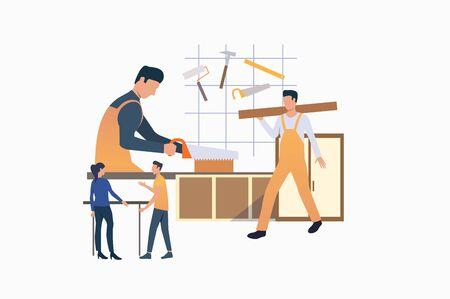 Menuisiers travaillant le bois. Personnages de dessins animés masculins sciant une planche, parlant au client. Illustration vectorielle plate et colorée pour la promotion, l'affiche, l'occupation