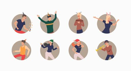 Dancing people in festive hats set. Men and women celebrating, dancing and having fun. Holiday concept. Vector illustration can be used for topics like celebration, office party, birthday  イラスト・ベクター素材