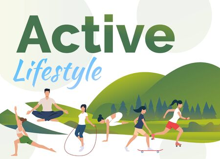 People leading active lifestyle with text sample. Flat cartoon characters doing exercises in fresh air. Can be used for sport advertising, commercial, article  イラスト・ベクター素材
