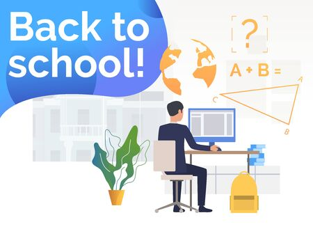 Student using desktop computer and studying at desk. Learning, information, back to school concept. Poster or landing template. Vector illustration for topics like study, knowledge, education
