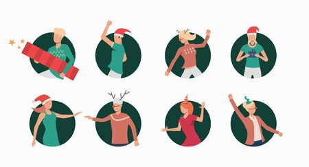Christmas people set. Men and women in Xmas outfit dancing and having fun. Holiday concept. Vector illustration can be used for topics like celebration, office party, new year