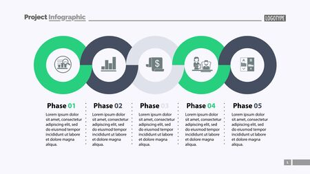 Sequence of five phases template. Business data. Graph, chart, design. Creative concept for infographic, report. Can be used for topics like marketing, economics, development  イラスト・ベクター素材