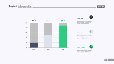 Sales increasing chart slide template. Business data. Graph, diagram. Creative concept for infographic, templates, presentation, report. Can be used for topics like development, research, progress  イラスト・ベクター素材