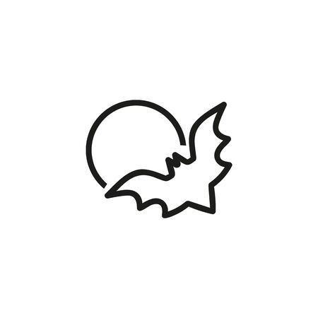 Bat and moon line icon. Full moon, night, animal. Halloween concept. Can be used for topics like vampire, horror, October Ilustração