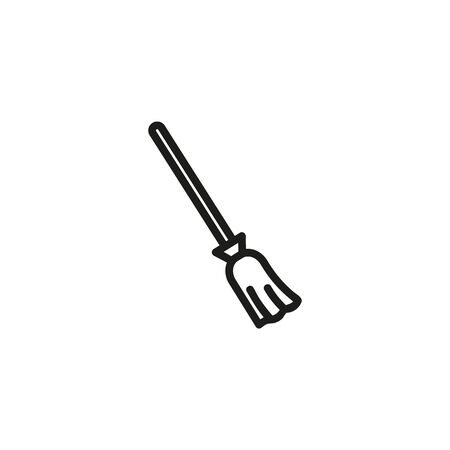 Broom line icon. Sweeping, attribute, housework. Witchcraft concept. Can be used for topics like cleaning, sabbath, Halloween Ilustração
