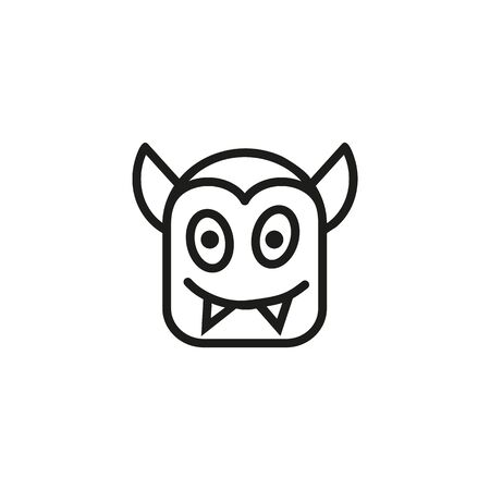 Devil head line icon. Evil, hell, monster. Halloween concept. Can be used for topics like horror, nightmare, creature 向量圖像