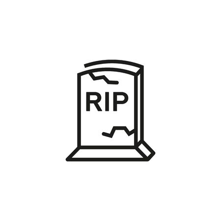 Grave line icon. Stone, crack, rip. Halloween concept. Can be used for topics like cemetery, funeral, mystery