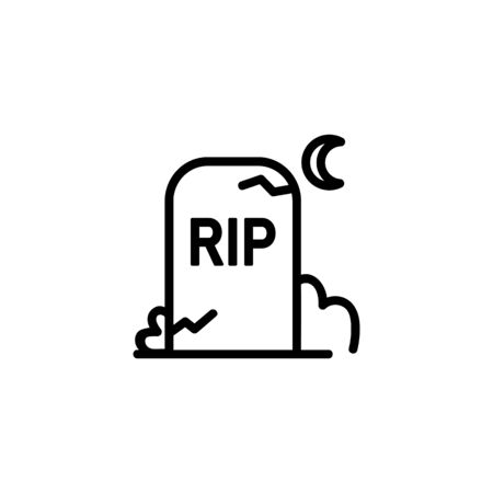Gravestone line icon. Night, cemetery, moon. Halloween concept. Can be used for topics like graveyard, funeral, mystery