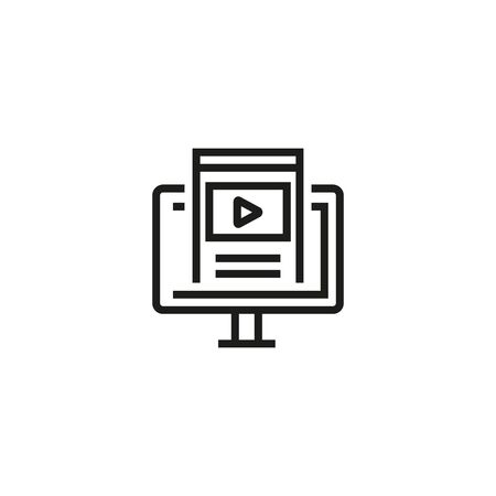 Online webinar vector line icon. Modern technologies, studying, online. Vector illustration can be used for topics like education, qualification, HR