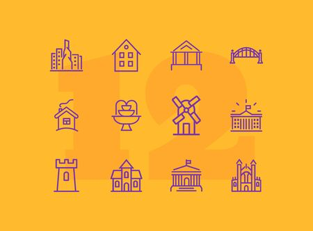 Landmarks line icon set. House, bridge, mill, fountain. Architecture concept. Can be used for topics like suburb, country, home 写真素材 - 128998291