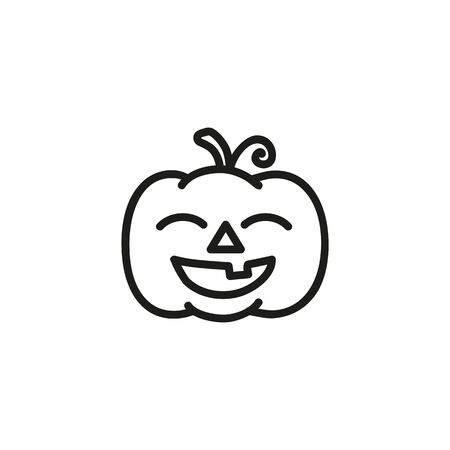 Smiling pumpkin line icon. Carving, decoration, Jack-o-lantern. Halloween party concept. Can be used for topics like fall, crop, agriculture