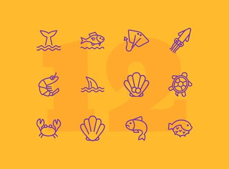 Seaanimal concept. Vector illustration can be used for topics like seafood, cuisine, cooking