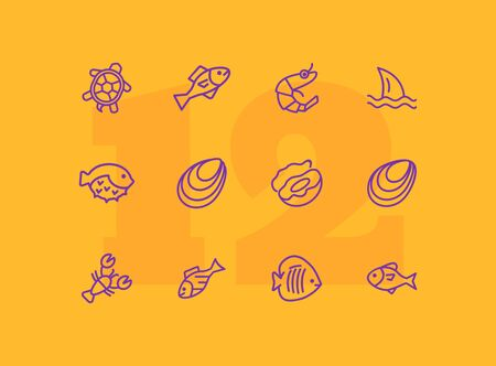 Marine products icon set. Seafood concept. Vector illustration can be used for topics like seafood, cuisine, cooking  イラスト・ベクター素材