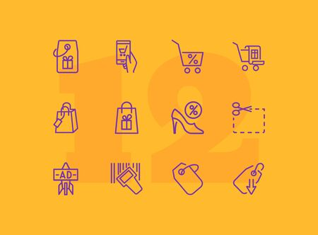 Special offer line icon set. Shoe shop, cart gift. Store concept. Can be used for topics like shopping, sale, discount