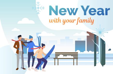 Family skiing in winter outdoors presentation slide. Outdoors, parents, children, winter sports. New Year with family concept. Vector illustration can be used for presentation slide, postcard, project