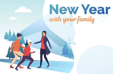 Family skating on frozen pond presentation slide. Outdoors, parents, children, winter sports. New Year with family concept. Vector illustration can be used for presentation slide, postcard, project Foto de archivo - 129029722