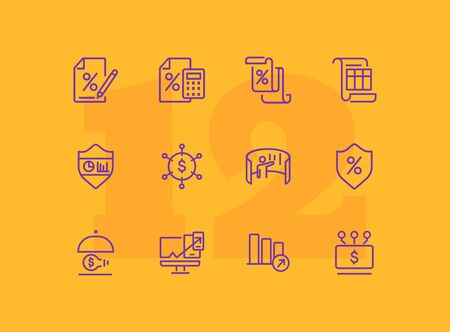 Profit line icon set. Percentage, interest, calculator. Business concept. Can be used for topics like finance, investment, accounting, startup Ilustração