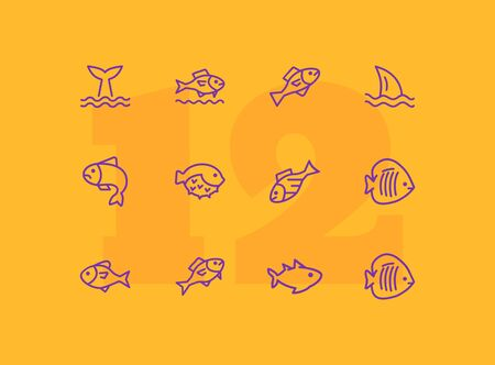 Sea fishes icon set. Seaanimal concept. Vector illustration can be used for topics like seafood, cuisine, cooking  イラスト・ベクター素材