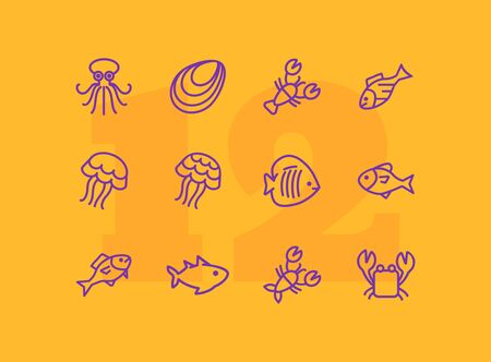 Sea life line icon set. Seashell, jelly, crab. Nature concept. Can be used for topics like diving, ocean, seafood market